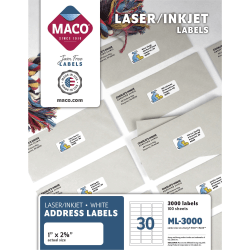 "MACO® White Laser/Ink Jet Address Labels, ML-3000, Permanent Adhesive, 1""W x 2 5/8""L, Rectangle, White, 30 Per Sheet, Box Of 3,000"