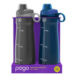 Pogo Tritan Chug Water Bottles, 32 Oz, Gray/Blue, Pack Of 2 Bottles