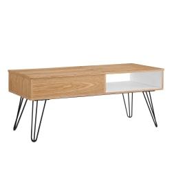 "Linon Caden Lift-Top Coffee Table, 19""H x 45-3/8""W x 19-3/4""D, Natural/White/Orange/Black"