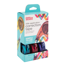 "Office Depot® Brand Side-Application Correction Tape, 1 Line x 392"", Assorted Colors, Pack Of 6"