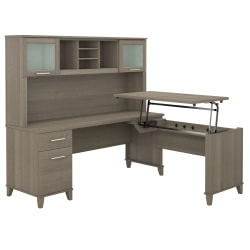 """Bush Furniture Somerset 3 Position Sit to Stand L Shaped Desk With Hutch, 72""""W, Ash Gray, Standard Delivery"""