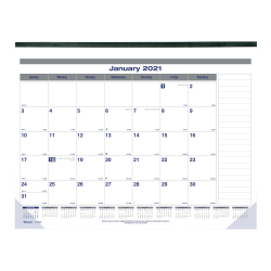"Blueline® Net Zero Carbon Monthly Desk Pad Calendar, 22"" x 17"", 50% Recycled, FSC® Certified, Blue/Grey, 12-month January to December 2021"