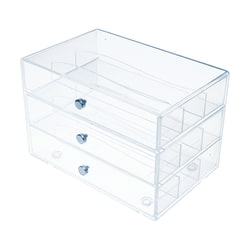 "Deflecto Stackable Drawer Organizer, 6-13/16""H x 12-1/2""W x 12-1/2""D, Clear"