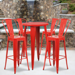 "Flash Furniture Commercial-Grade Round Metal Indoor/Outdoor Bar Table Set With 4 Café Stools, 41""H x 24""W x 24""D, Red"
