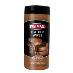 "Weiman® Leather Wipes, 7"" x 8"", Canister Of 30"