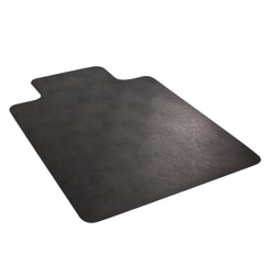 """Deflect-O Chair Mat, For Low-Pile Carpet, 18"""" Wide Lip, 45"""" x 53"""", Black"""