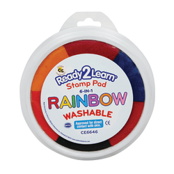 Center Enterprises Jumbo Washable Stamp Pads, 1 Oz, Rainbow Colors, Pack Of 6