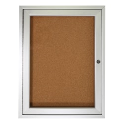 "Ghent 1-Door Enclosed Natural Cork Enclosed Bulletin Board, 24"" x 18"", Satin Aluminum Frame"