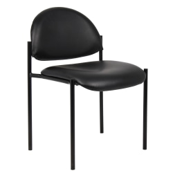 "Boss B9505-CS Caressoft Padded Vinyl Seat, Vinyl Back Stacking Chair, 14 1/2"" Seat Width, Black Seat/Black Frame, Quantity: 1"