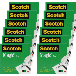 "Scotch 3/4""W Magic Tape - 12 yd Length x 0.75"" Width - 1"" Core - Writable Surface, Photo-safe, Non-yellowing - 12 / Pack - Clear"