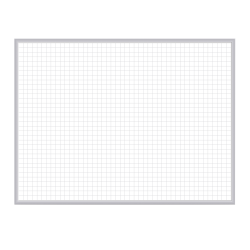 """Ghent 1"""" x 1"""" Grid Magnetic Dry-Erase Whiteboard, 36"""" x 48"""", Satin Silver Aluminum Frame"""