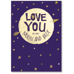 """Viabella Anniversary One I Love Greeting Card, To The Moon And Back, 5"""" x 7"""", Multicolor"""