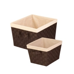 """Honey-Can-Do 2-Piece Woven Baskets With Liners Set, 13""""L x 15""""W x 10""""H, Espresso"""