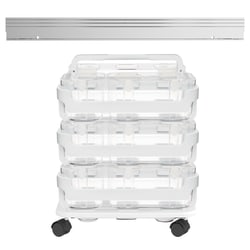 "Deflect-O® Stackable Caddy Organizer, 6-1/2""H x 14""W x 10-1/2""D, Clear"