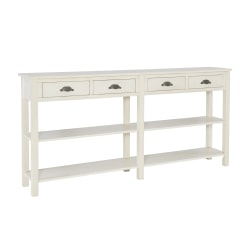 "Powell® Home Fashions Morais 4-Drawer Console Table With 2 Shelves, 34-1/2""H x 72""W x 12-1/8""D, Cream"