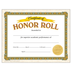 """TREND Certificates, Honor Roll, 8 1/2"""" x 11"""", Gold/White, Pre-K - Grade 12, Pack Of 30"""