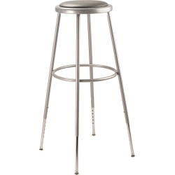 National Public Seating Adjustable Vinyl-Padded Task Stool, Gray Seat/Gray Frame, Quantity: 1