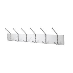 "Safco® Metal Wall Rack Coat Hooks, 6 Hooks, 6 3/4""H x 36""W x 3 3/4""D, Satin Aluminum"
