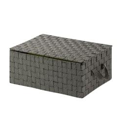 "Honey-Can-Do Hinged-Lid Woven Storage Box, 12""L x 17""W x 7""H, Salt/Pepper"