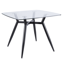 Lumisource Clara Mid-Century Modern Dining Table, Square, Clear/Black