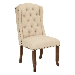 Ave Six Jessica Tufted Wing Chair, Linen/Coffee