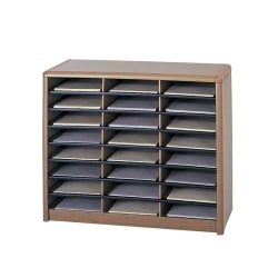 Safco® Value Sorter® Steel Corrugated Literature Organizer, 24 Compartments, Medium Oak