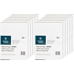 """Business Source Plain Memo Pads - 100 Sheets - Plain - Glued - Unruled - 15 lb Basis Weight - 4"""" x 6"""" - White Paper - Chipboard Backing - 144 / Carton"""