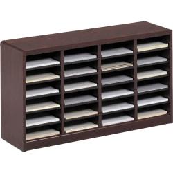 """Safco® E-Z Stor® Wood Literature Organizer, 24 Compartments, 23""""H, Mahogany"""