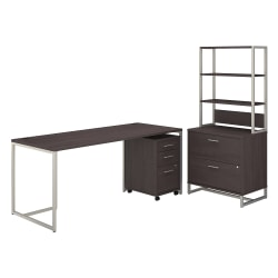 "kathy ireland® Office by Bush Business Furniture Method Table Desk With File Cabinets And Hutch, 72""W, Storm Gray, Standard Delivery"