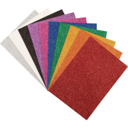 "Creativity Street 9x12 Wonderfoam Glitter Sheets - Art Project, Craft Project - 8.50"" x 8.25""11.70"" - 10 / Pack - White, Silver, Gold, Orange, Red, Pink, Green, Blue, Purple, Black - Foam"