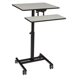 """National Public Seating 26""""W Sit Stand Student's Desk, Gray Nebula"""