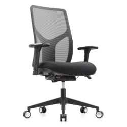 WorkPro® 4000 Series Multifunction Ergonomic Mesh/Fabric High-Back Executive Chair, Gray/Black