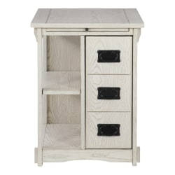 "Powell Molina Side Table With Storage, 24""H x 22-5/8""W x 18-3/8""D, Whitewash"