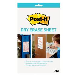 """Post-it® Dry-Erase Sheets, 7"""" x 11-5/16"""", White, Pack Of 3 Sheets"""