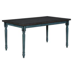 """Powell Maillet Dining Table, 30-1/4""""H x 59""""W x 35-1/2""""D, Burnished Oak/Teal Blue"""