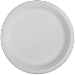 "Genuine Joe Compostable Plates - 10"" Diameter Plate - Disposable - White - 50 Piece(s) / Pack"
