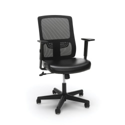 Essentials By OFM Ergonomic Mesh/Leather High-Back Chair, Black