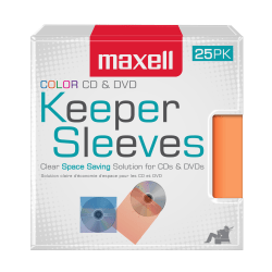 Maxell® CD/DVD Keepers, Assorted Colors, Pack Of 25