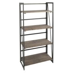 Lumisource Dakota Industrial 4-Shelf Bookcase, Black/Brown