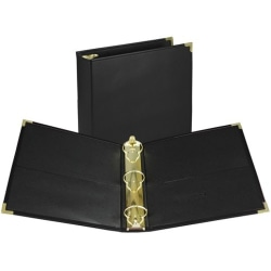 """Samsill® Leatherette Classic 3-Ring Binder, 2"""" Round Rings, Black"""