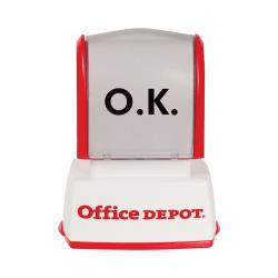"Custom Office Depot® Brand Pre-Inked Stamp, 1/2"" x 1-1/16"" Impression"