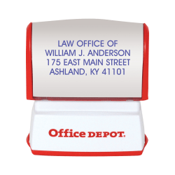 "Custom Office Depot® Brand Pre-Inked Stamp, 9/16"" x 1-1/2"" Impression"