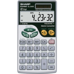 """Sharp Calculators EL-344RB 10-Digit Handheld Calculator - 3-Key Memory, Sign Change, Auto Power Off - Battery/Solar Powered - Battery Included - 0.3"""" x 2.7"""" x 4.7"""" - Gray, Black - 1 / Each"""