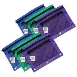 """Charles Leonard Mesh Front Pencil Pouches, 10"""" x 7-5/8"""", Assorted Colors, Pack Of 6 Pouches"""