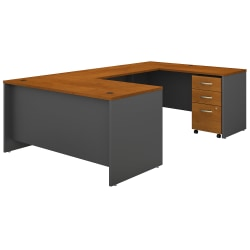 "Bush Business Furniture Components 60""W U-Shaped Desk With 3-Drawer Mobile File Cabinet, Natural Cherry/Graphite Gray, Standard Delivery"