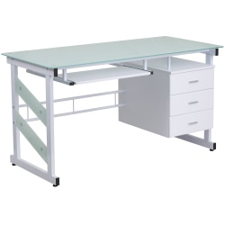 Flash Furniture Frosted Computer Desk With 3-Drawer Pedestal, White