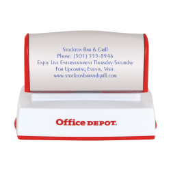 "Custom Office Depot® Brand Pre-Inked Stamp, 1-3/16"" x 2-3/4"" Impression"