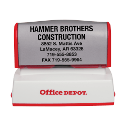 "Custom Office Depot® Brand Pre-Inked Stamp, 1-1/2"" x 2-7/16"" Impression"