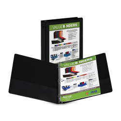 """Samsill® Economy Insertable 3-Ring Binder, 1"""" Round Rings, 45% Recycled, Black"""