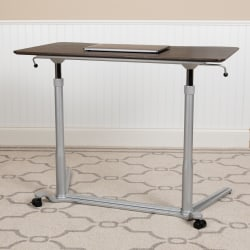 """Flash Furniture 38""""W Sit-Down/Stand-Up Ergonomic Computer Desk, Dark Wood Grain"""
